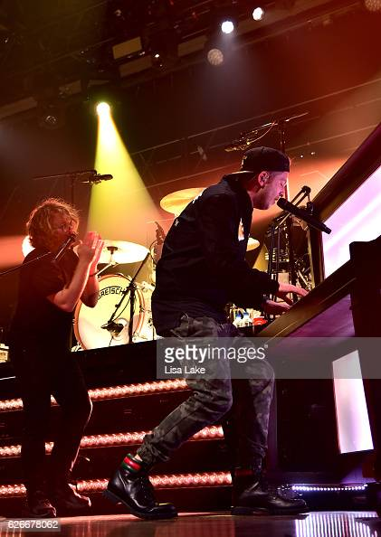 Drew Brown and Ryan Tedder of OneRepublic perform at the American Airlines and Mastercard Present OneRepublic at The Fillmore Philadelphiaon November...