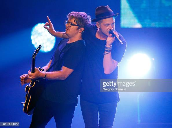 Drew Brown and Ryan Tedder of OneRepublic perform at the Meijer LPGA Community Concert at Van Andel Arena on July 25 2015 in Grand Rapids Michigan