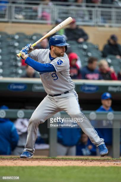 Drew Butera of the Kansas City Royals bats against the Minnesota Twins on May 21 2017 at Target Field in Minneapolis Minnesota The Twins defeated the...