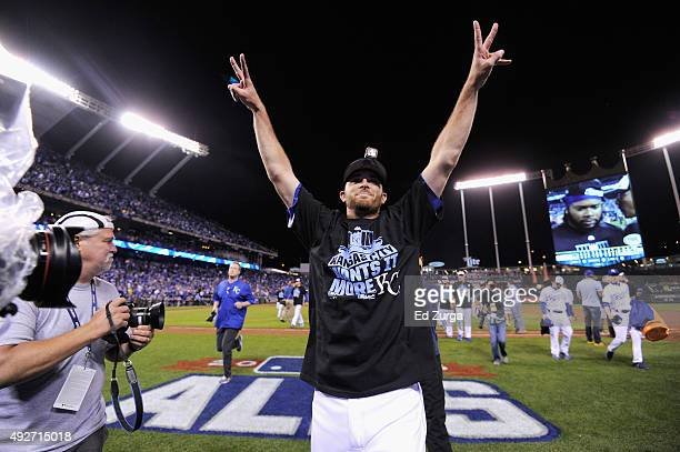 Drew Butera of the Kansas City Royals celebrates defeating the Houston Astros 72 in game five of the American League Divison Series at Kauffman...