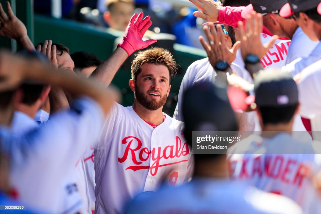 Drew Butera #9 of the Kansas City Royals celebrates his solo homerun in the seventh inning against the Baltimore Orioles at Kauffman Stadium on May 14, 2017 in Kansas City, Missouri. Players are wearing pink to celebrate Mother's Day weekend and support breast cancer awareness.