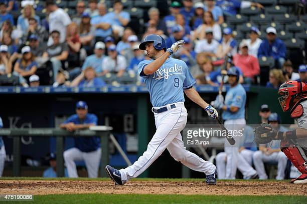Drew Butera of the Kansas City Royals hits against the St Louis Cardinals at Kauffman Stadium on May 24 2015 in Kansas City Missouri