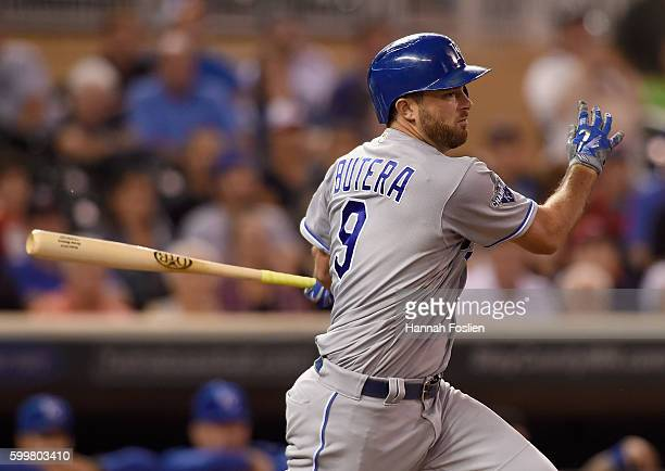 Drew Butera of the Kansas City Royals hits an RBI single against the Minnesota Twins during the ninth inning of the game on September 6 2016 at...