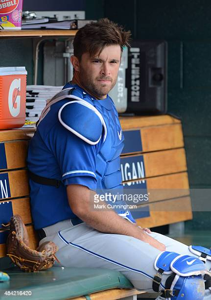Drew Butera of the Kansas City Royals looks on from the dugout during the game against the Detroit Tigers at Comerica Park on August 6 2015 in...