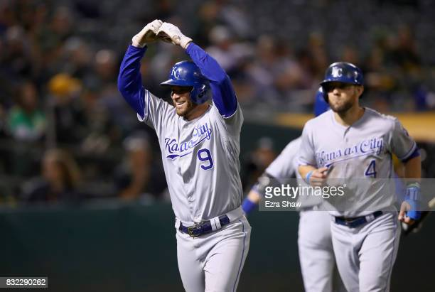 Drew Butera of the Kansas City Royals reacts after hitting a tworun home run in the eighth inning against the Oakland Athletics at Oakland Alameda...