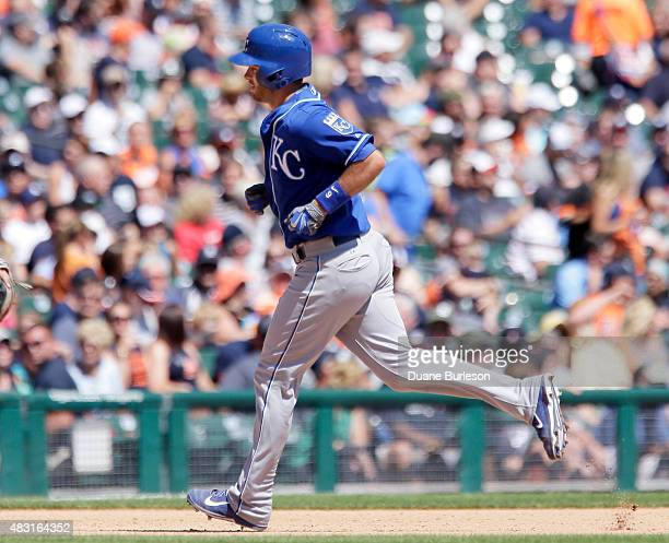 Drew Butera of the Kansas City Royals rounds the bases after hitting a solo home run against the Detroit Tigers during the seventh inning at Comerica...