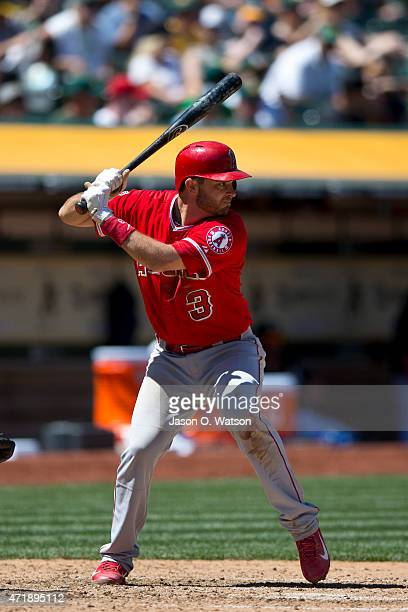 Drew Butera of the Los Angeles Angels of Anaheim at bat against the Oakland Athletics during the sixth inning at Oco Coliseum on April 30 2015 in...