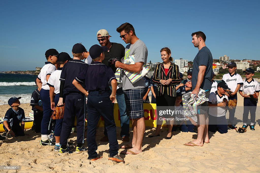 <a gi-track='captionPersonalityLinkClicked' href=/galleries/search?phrase=Drew+Butera&family=editorial&specificpeople=4175498 ng-click='$event.stopPropagation()'>Drew Butera</a> of the Los Angeles Dodgers meets players from Illawong Little League during a Los Angeles Dodgers players visit at Bondi Beach on March 19, 2014 in Sydney, Australia.