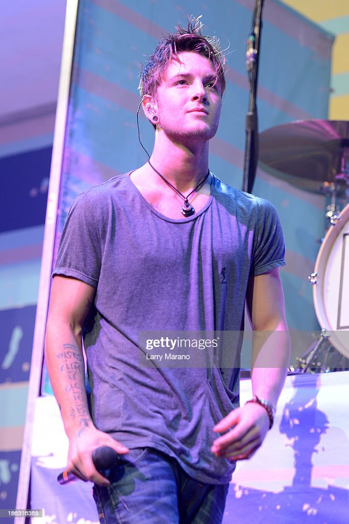 Drew Chadwick of Emblem3 performs at BB&T Center on October 29, 2013 in Sunrise, Florida.