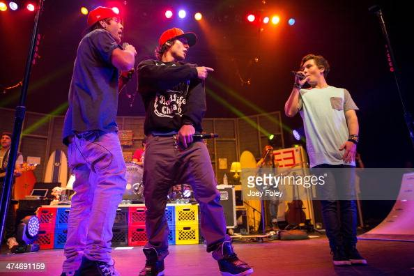 Drew Chadwick Wesley Stromberg and Keaton Stromberg of Emblem3 perform live onstage at Egyptian Room at Old National Centre on February 16 2014 in...