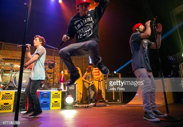 Drew Chadwick Wesley Stromberg and Keaton Stromberg of Emblem3 performs live onstage at Egyptian Room at Old National Centre on February 15 2014 in...