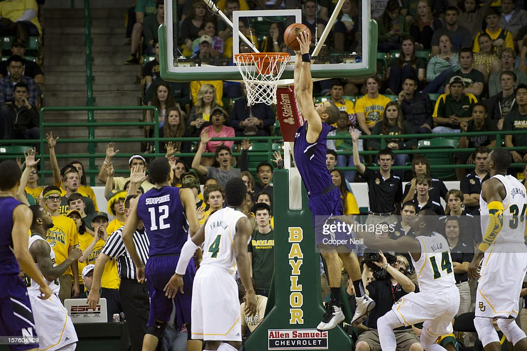 Drew Crawford #1 of the Northwestern University Wildcats dunks the ball against the Baylor University Bears on December 4, 2012 at the Ferrell Center in Waco, Texas.