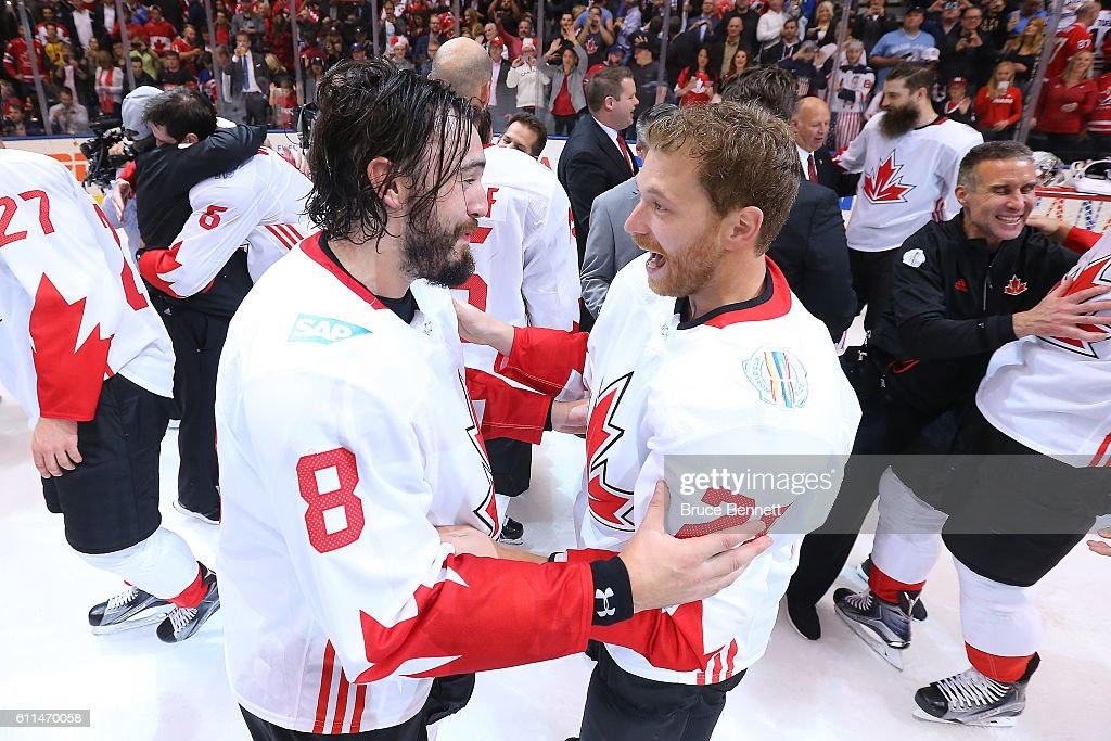 Drew Doughty #8 and Corey Perry #24 of Team Canada celebrate their win over Team Europe during Game Two of the World Cup of Hockey final series at the Air Canada Centre on September 29, 2016 in Toronto, Canada. The Team Canada defeated Team Europe 2-1.