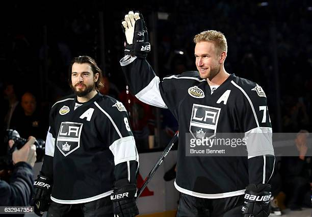 Drew Doughty and Jeff Carter of the Los Angeles Kings are introduced prior to the 2017 Coors Light NHL AllStar Skills Competition as part of the 2017...