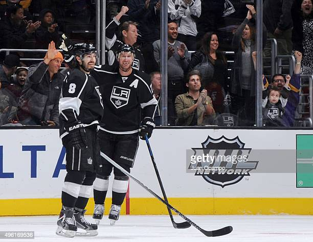 Drew Doughty and Jeff Carter of the Los Angeles Kings celebrate a second period goal against the Florida Panthers on November 7 2015 at Staples...