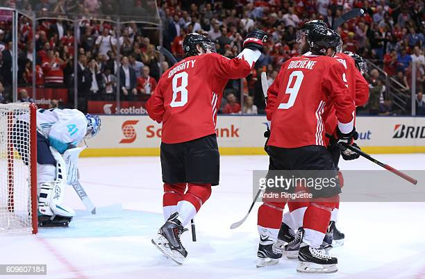 Drew Doughty and Matt Duchene celebrate after a Team Canada goal on Jaroslav Halak of Team Europe during the World Cup of Hockey 2016 at Air Canada...