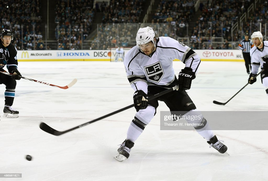 <a gi-track='captionPersonalityLinkClicked' href=/galleries/search?phrase=Drew+Doughty&family=editorial&specificpeople=2085761 ng-click='$event.stopPropagation()'>Drew Doughty</a> #8 of the Los Angeles King shoots a backhand shot against the San Jose Sharks in the first period in Game Five of the First Round of the 2014 NHL Stanley Cup Playoffs at SAP Center on April 26, 2014 in San Jose, California. The Kings won the game 3-0.
