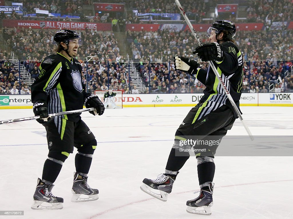 <a gi-track='captionPersonalityLinkClicked' href=/galleries/search?phrase=Drew+Doughty&family=editorial&specificpeople=2085761 ng-click='$event.stopPropagation()'>Drew Doughty</a> #8 of the Los Angeles Kings and Team Foligno celebrates with <a gi-track='captionPersonalityLinkClicked' href=/galleries/search?phrase=Ryan+Johansen&family=editorial&specificpeople=6698841 ng-click='$event.stopPropagation()'>Ryan Johansen</a> #19 of the Columbus Blue Jackets and Team Foligno during the 2015 Honda NHL All-Star Game at Nationwide Arena on January 25, 2015 in Columbus, Ohio.