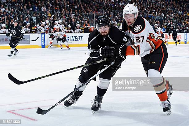 Drew Doughty of the Los Angeles Kings battles for position against Nick Ritchie of the Anaheim Ducks on March 5 2016 at Staples Center in Los Angeles...