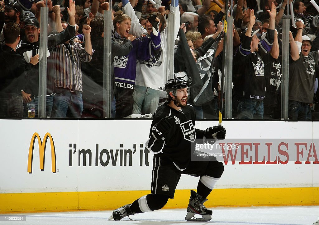 <a gi-track='captionPersonalityLinkClicked' href=/galleries/search?phrase=Drew+Doughty&family=editorial&specificpeople=2085761 ng-click='$event.stopPropagation()'>Drew Doughty</a> #8 of the Los Angeles Kings celebrates after scoring a power play goal in the third period of Game Four of the 2012 Stanley Cup Final against New Jersey Devils at the Staples Center on June 6, 2012 in Los Angeles, California.
