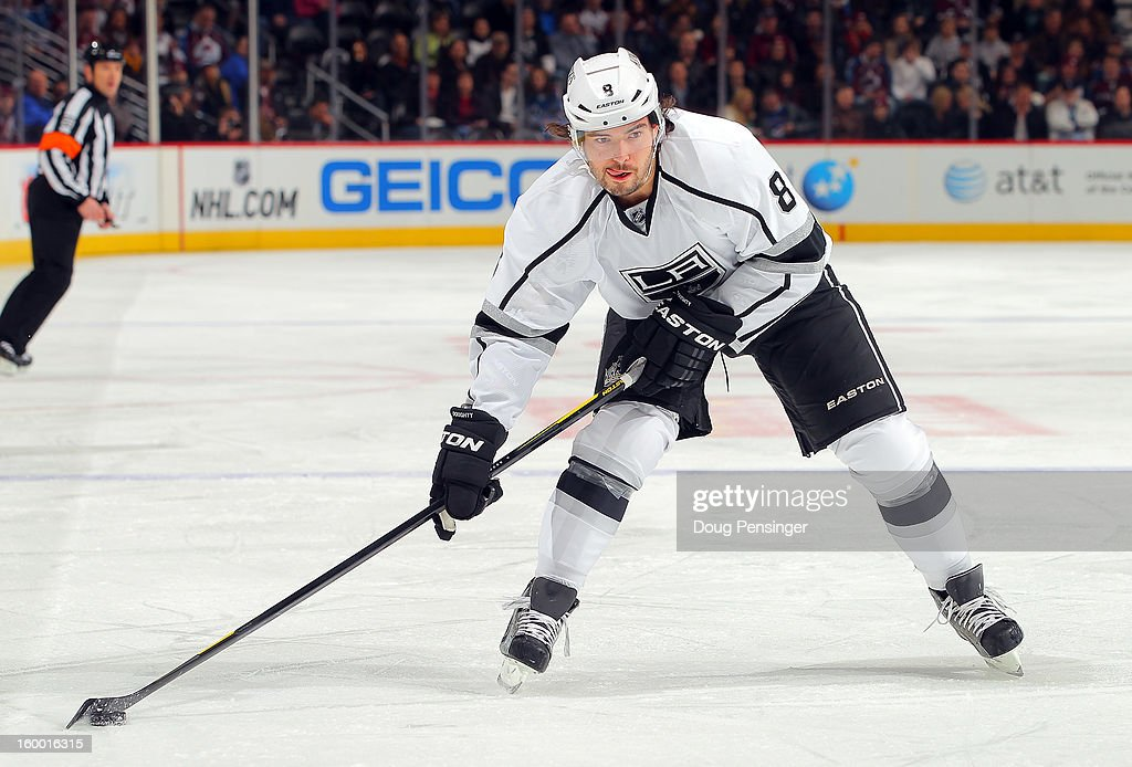 <a gi-track='captionPersonalityLinkClicked' href=/galleries/search?phrase=Drew+Doughty&family=editorial&specificpeople=2085761 ng-click='$event.stopPropagation()'>Drew Doughty</a> #8 of the Los Angeles Kings controls the puck against the Colorado Avalanche at the Pepsi Center on January 22, 2013 in Denver, Colorado. The Avalanche defeated the Kings 3-1.