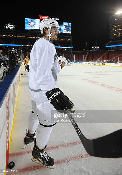 Drew Doughty of the Los Angeles Kings looks on during practice a day prior to the 2015 Coors Light Stadium Series game between the Los Angeles Kings...