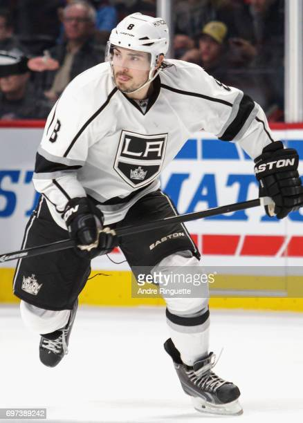 Drew Doughty of the Los Angeles Kings plays in the game against the Montreal Canadiens at the Bell Centre on December 12 2014 in Montreal Quebec...