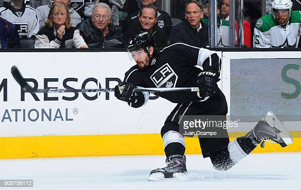 Drew Doughty of the Los Angeles Kings releases a shot for a goal in the first period against the Dallas Stars on January 19 2016 at Staples Center in...