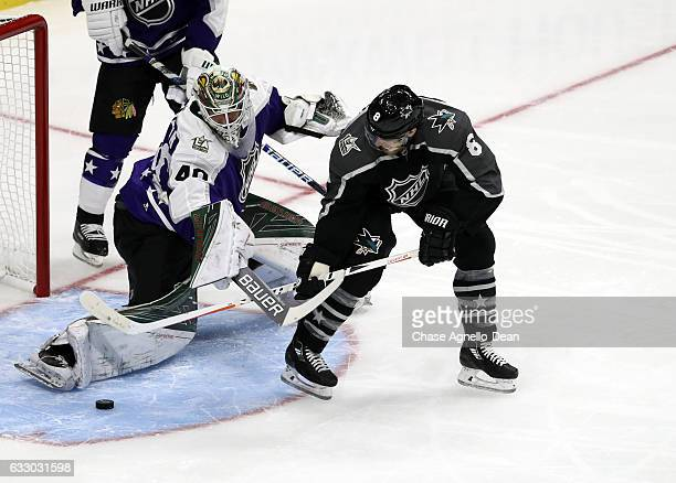 Drew Doughty of the Los Angeles Kings shoots on Devan Dubnyk of the Minnesota Wild during the 2017 Honda NHL AllStar Game on January 29 2017 at the...