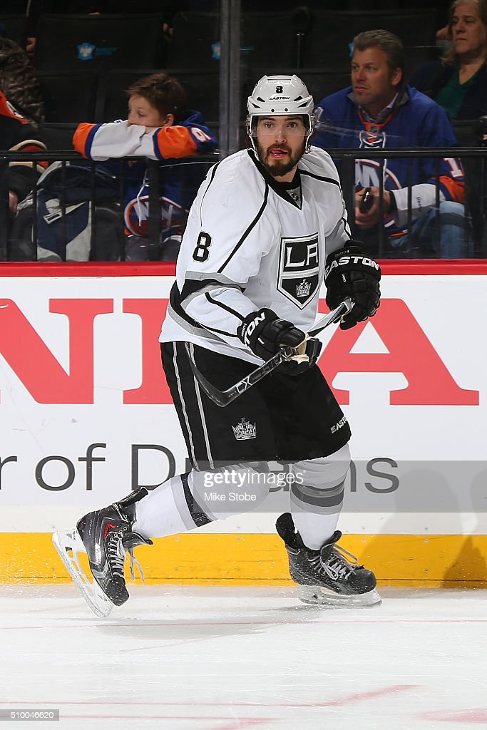 Drew Doughty #8 of the Los Angeles Kings skates against the New York Islanders at the Barclays Center on February 11, 2016 in Brooklyn borough of New York City. The Islanders defeated the Kings 5-2.
