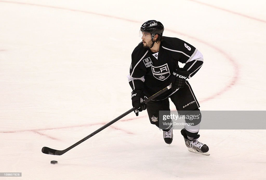 <a gi-track='captionPersonalityLinkClicked' href=/galleries/search?phrase=Drew+Doughty&family=editorial&specificpeople=2085761 ng-click='$event.stopPropagation()'>Drew Doughty</a> #8 of the Los Angeles Kings starts the break out of the defensive zone during the NHL game against the Chicago Blackhawks at Staples Center on January 19, 2013 in Los Angeles, California. The Blackhawks defeated the Kings 5-2.