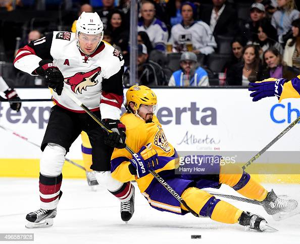 Drew Doughty of the Los Angeles Kings takes a holding the stick penalty on Martin Hanzal of the Arizona Coyotes during the first period at Staples...