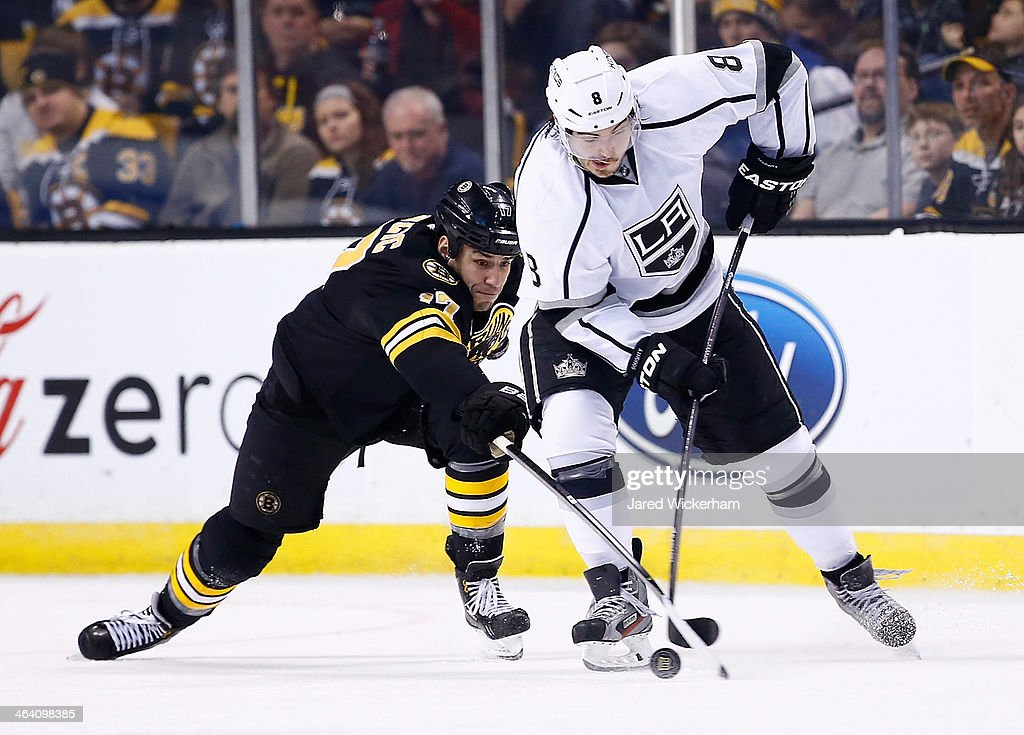 Drew Dougty #8 of the Los Angeles Kings carries the puck in front of <a gi-track='captionPersonalityLinkClicked' href=/galleries/search?phrase=Milan+Lucic&family=editorial&specificpeople=537957 ng-click='$event.stopPropagation()'>Milan Lucic</a> #17 of the Boston Bruins in the third period during the game at TD Garden on January 20, 2014 in Boston, Massachusetts.