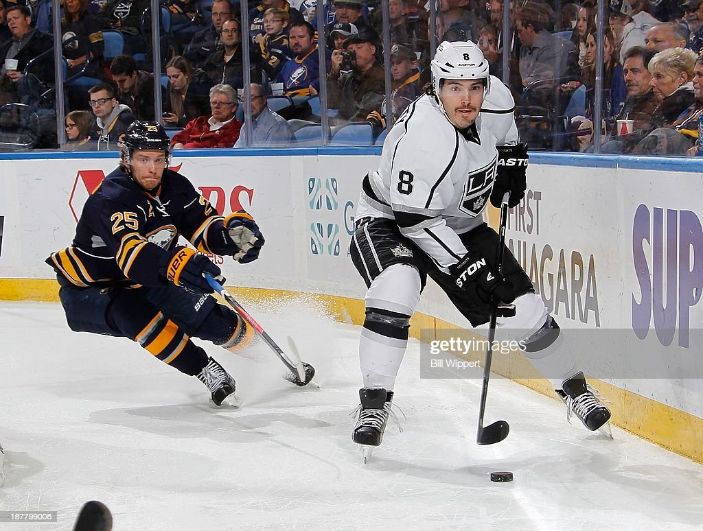 Drew Dougty #8 of the Los Angeles Kings clears the puck away from Mikhail Grigorenko #25 of the Buffalo Sabres on November 12, 2013 at the First Niagara Center in Buffalo, New York.