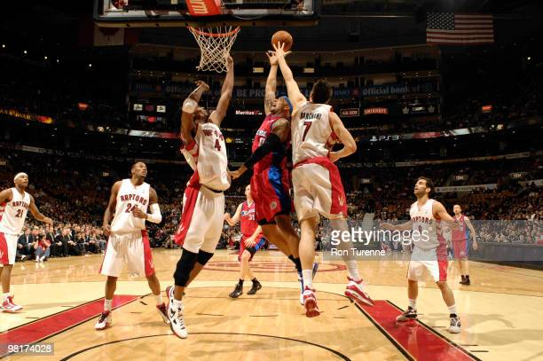 Drew Gooden of the Los Angeles Clippers gets his shot blocked by Andrea Bargnani of the Toronto Raptors during a game on March 31 2010 at the Air...