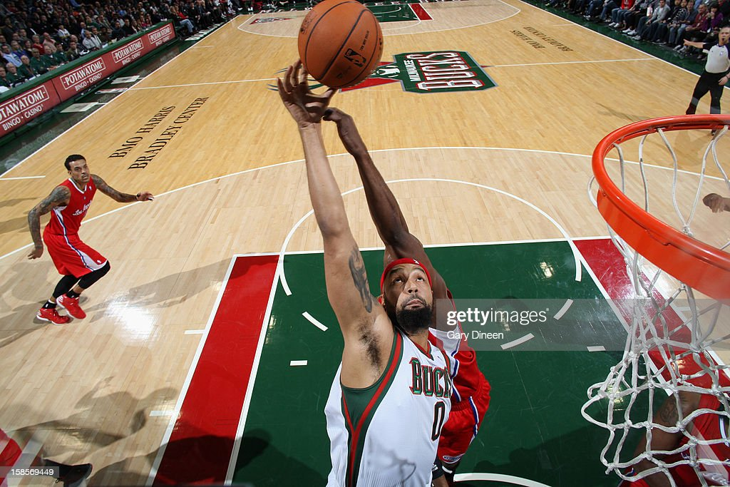 Drew Gooden #0 of the Milwaukee Bucks grabs a rebound against the Los Angeles Clippers on December 15, 2012 at the BMO Harris Bradley Center in Milwaukee, Wisconsin.