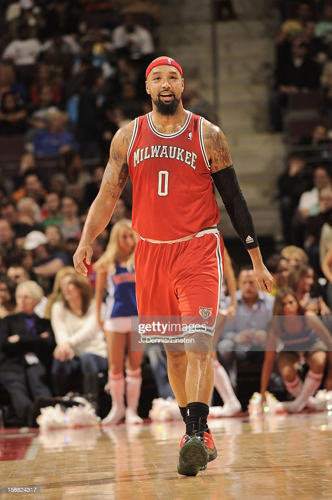 <a gi-track='captionPersonalityLinkClicked' href=/galleries/search?phrase=Drew+Gooden&family=editorial&specificpeople=201750 ng-click='$event.stopPropagation()'>Drew Gooden</a> #0 of the Milwaukee Bucks smiles during the game between the Detroit Pistons and the Milwaukee Bucks on December 30, 2012 at The Palace of Auburn Hills in Auburn Hills, Michigan.