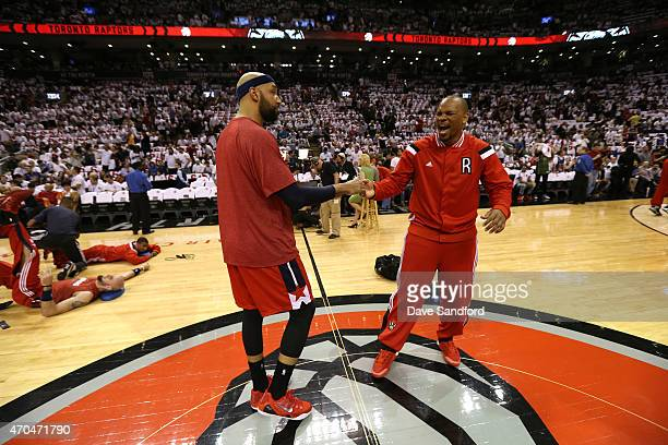 Drew Gooden of the Washington Wizards and Chuck Hayes of the Toronto Raptors before Game One of the Eastern Conference Quarterfinals of the 2015 NBA...