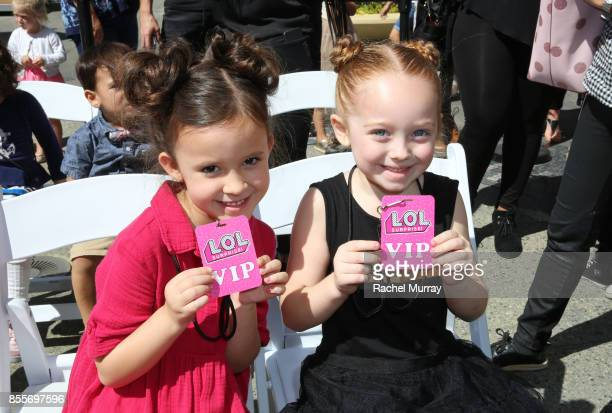 Drew Gordon and Amber Romero attend the launch of LOL Surprise Big Surprise and world's first unboxing video booth hosted by Vanessa Lachey on...