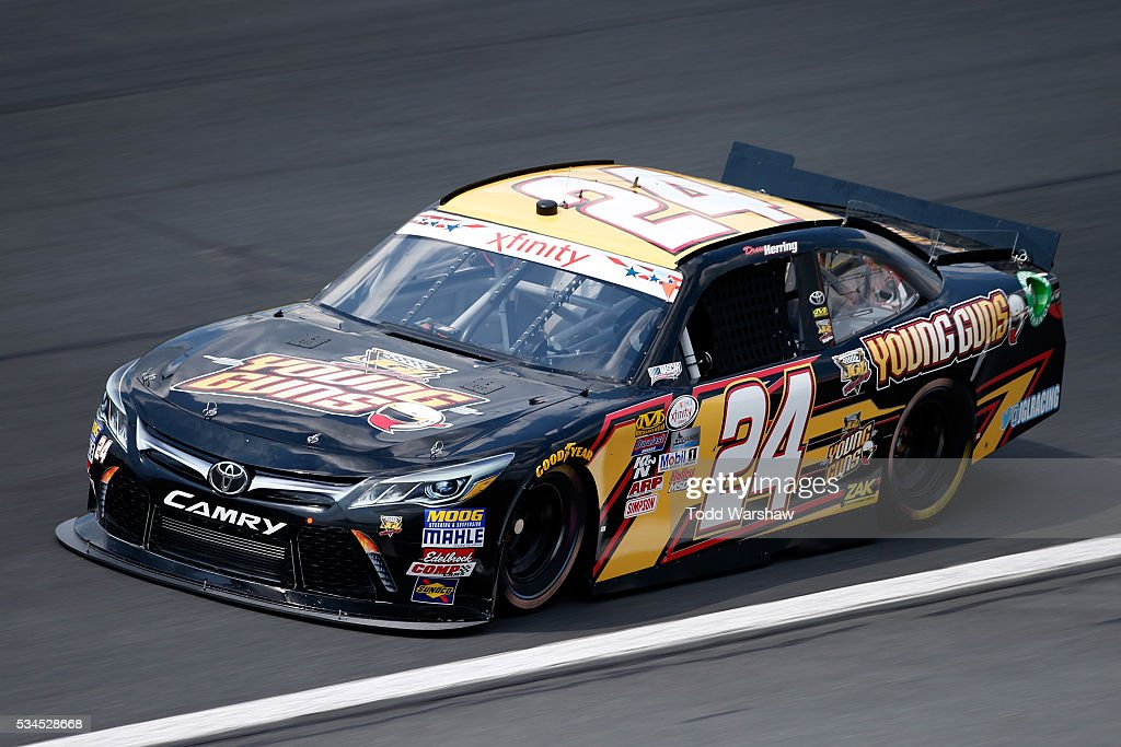 Drew Herring, driver of the #24 JGL Young Guns Toyota, drives during practice for the NASCAR XFINITY Series Hisense 4K TV 300 at Charlotte Motor Speedway on May 27, 2016 in Charlotte, North Carolina.