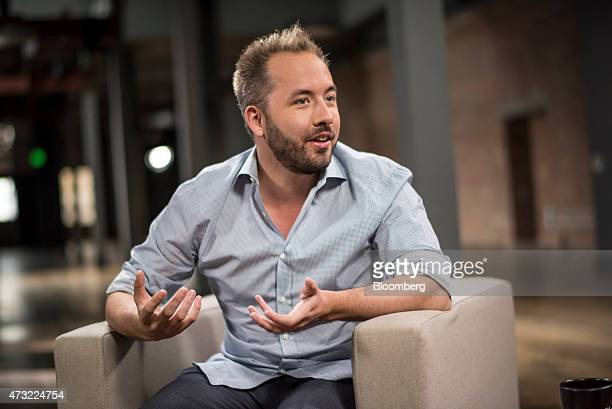 Drew Houston chief executive officer and cofounder of Dropbox Inc speaks during a Bloomberg Studio 10 television interview in San Francisco...