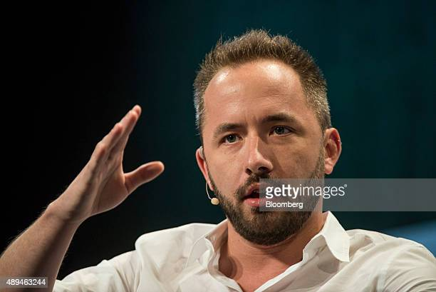 Drew Houston chief executive officer and cofounder of Dropbox Inc speaks at the TechCrunch Disrupt SF 2015 conference in San Francisco California US...