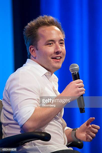 Drew Houston chief executive officer and cofounder of Dropbox Inc speaks during the DreamForce Conference in San Francisco California US on Monday...