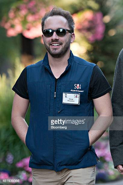 Drew Houston chief executive officer and cofounder of Dropbox Inc walks the grounds during the Allen Co Media and Technology Conference in Sun Valley...