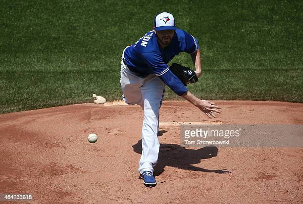 Drew Hutchison of the Toronto Blue Jays delivers a pitch in the first inning during MLB game action against the New York Yankees on August 16 2015 at...