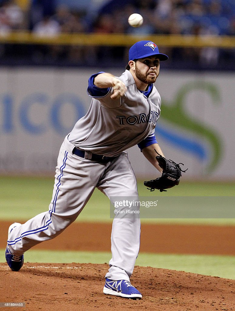 Drew Hutchison #36 of the Toronto Blue Jays pitches during the first inning of a game against the Tampa Bay Rays on April 1, 2014 at Tropicana Field in St. Petersburg, Florida.