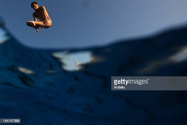 Drew Livingston of the USA dives during training at the Fort Lauderdale Aquatic Center on Day 1 of the ATT USA Diving Grand Prix on May 10 2012 in...