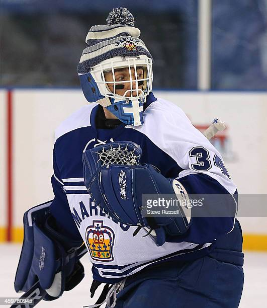 DETROIT MI DECEMBER 30 Drew MacIntyre warms up as the Toronto Marlies play the Grand Rapid Griffins outside at Comerica Park in Detroit December 30...