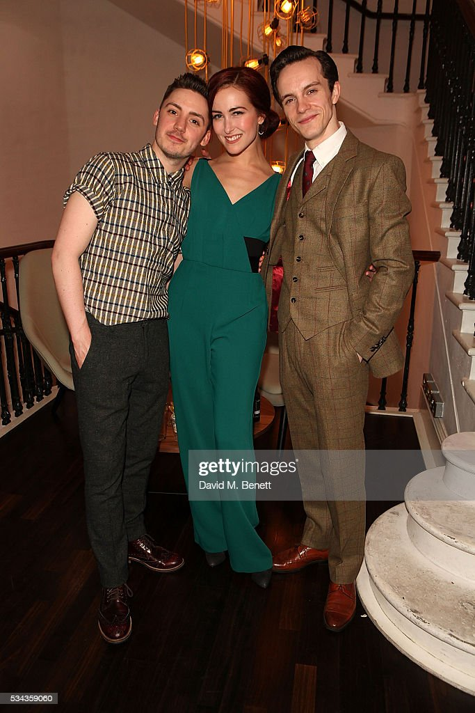 Drew Mconie Rachel Muldoon and Daniel Collins attend the press night after party for 'Jekyll Hyde' at The Old Vic Theatre on May 25 2016 in London...