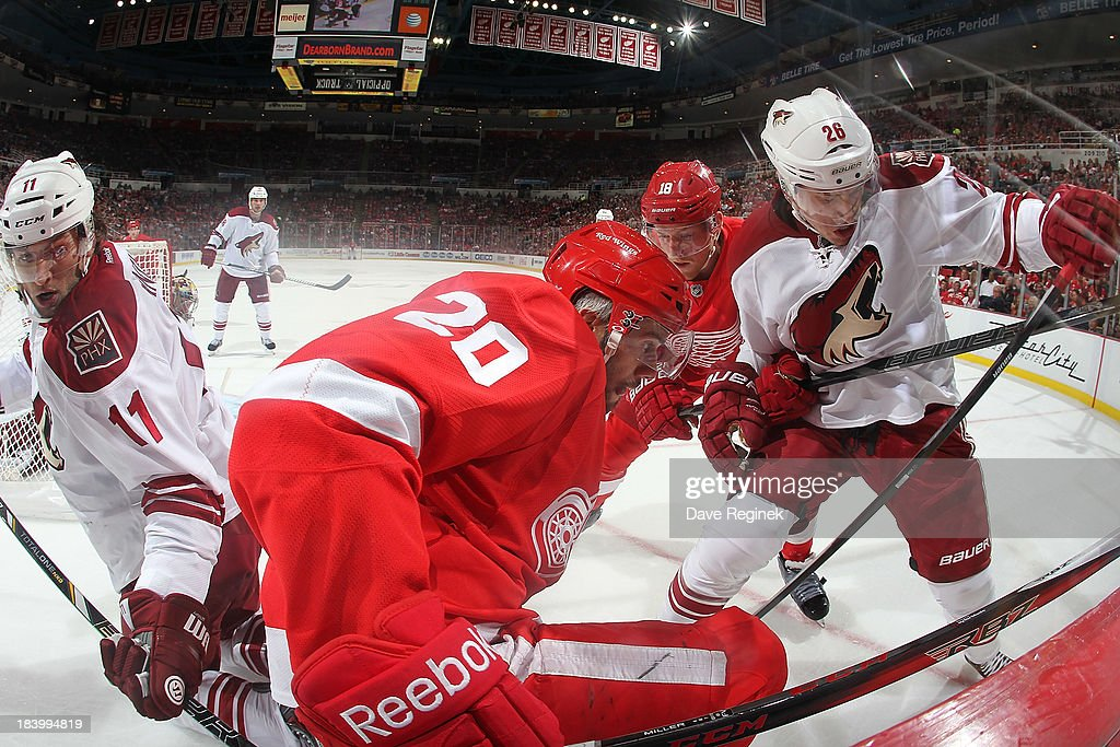 Drew Miller #20 and Joakim Andersson #18 of the Detroit Red Wings battle in the corner with Michael Stone #26 and <a gi-track='captionPersonalityLinkClicked' href=/galleries/search?phrase=Martin+Hanzal&family=editorial&specificpeople=2109469 ng-click='$event.stopPropagation()'>Martin Hanzal</a> #11 of the Phoenix Coyotes during a NHL game at Joe Louis Arena on October 10, 2013 in Detroit, Michigan. The Coyotes won 4-2